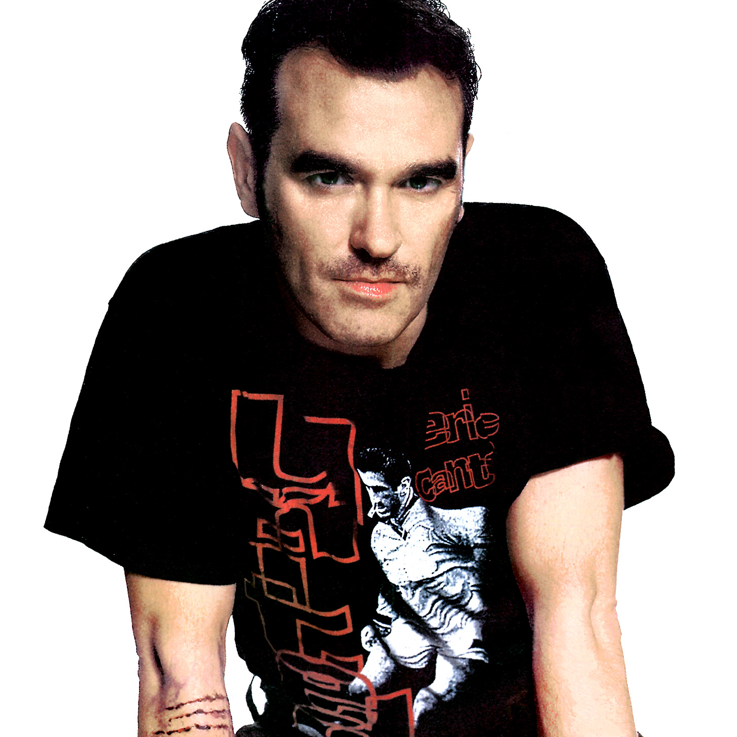 Morrissey wearing Cantona tee shirt Picture from www.morrissey-solo.com